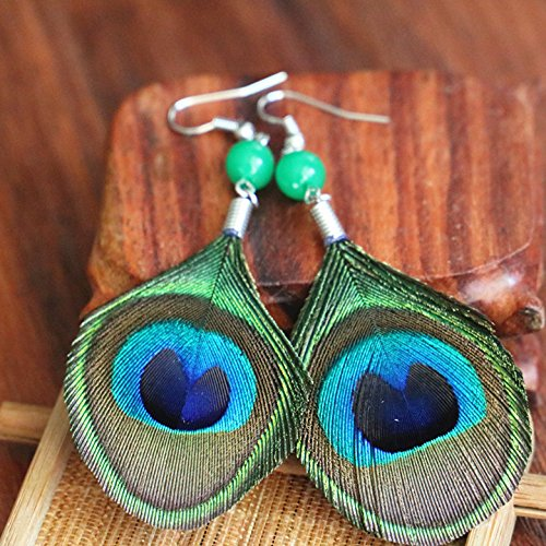 Runheng faite /à la main plumes Paon Pendentif Collier et boucles doreilles Ensemble de mode