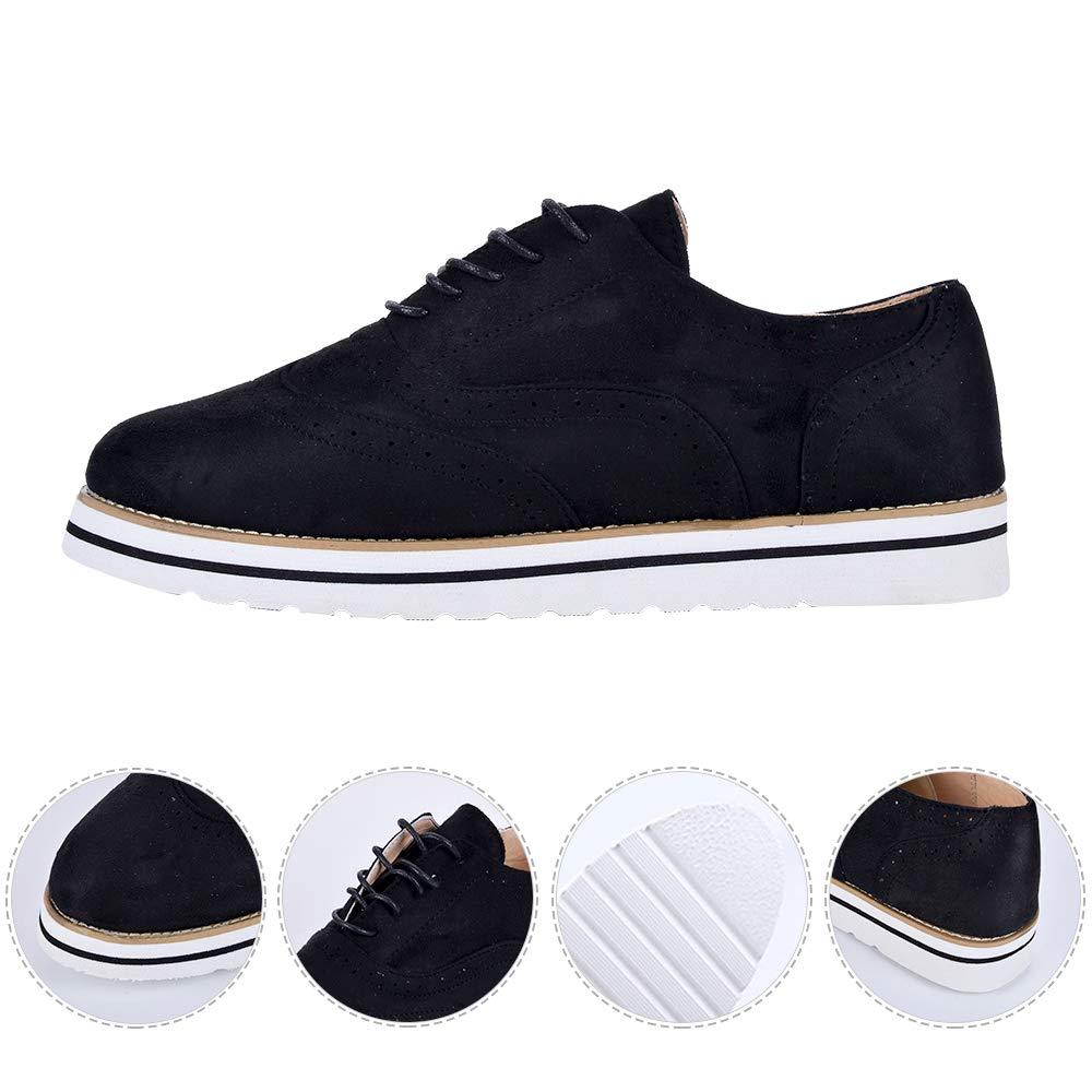 Puimentiua Zapatos Planos con Cordones para Mujer Calzado Vintage Uniforme Trabajo Sneaker EU 35-43