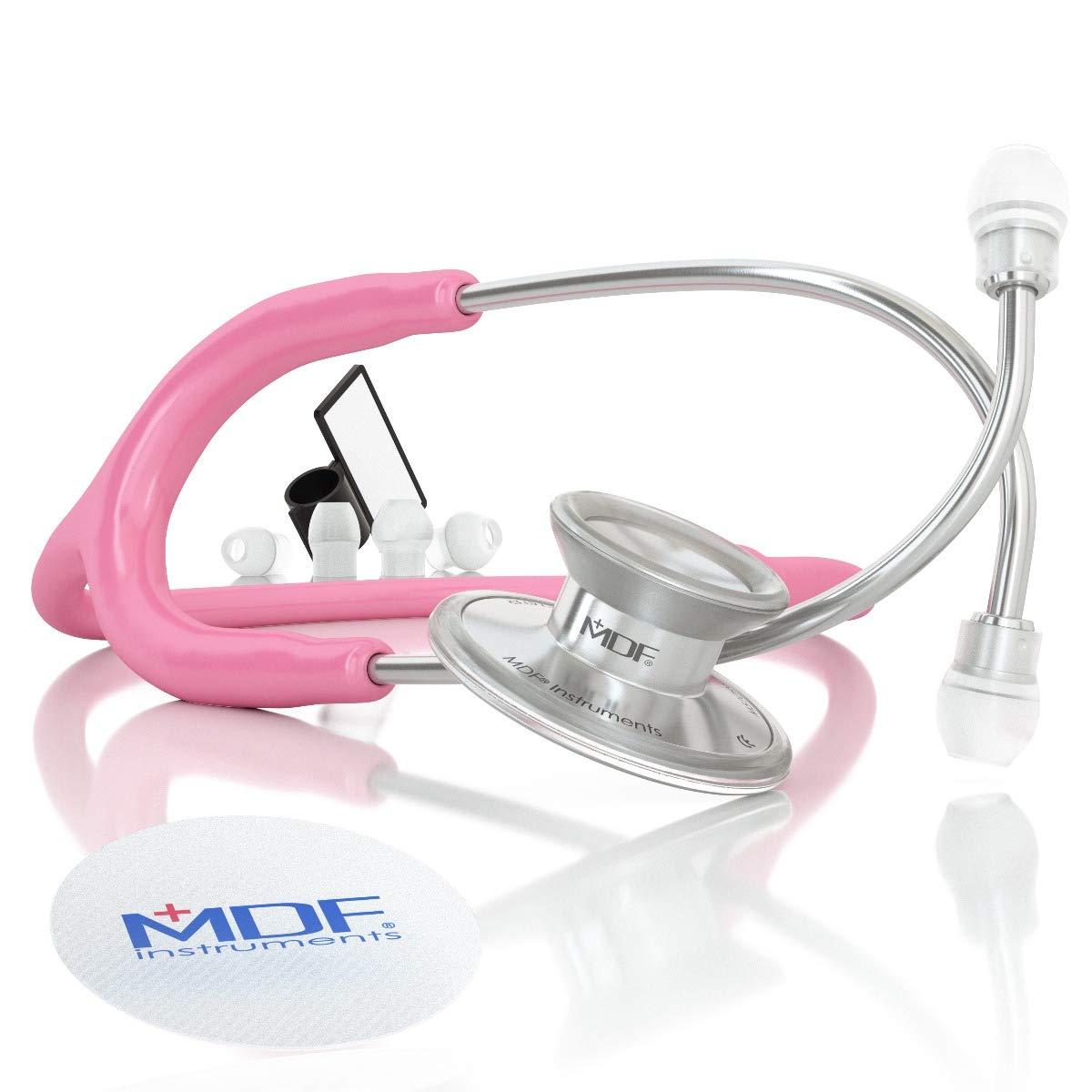 MDF Instruments Acoustica Deluxe MDF747XP01, Estetoscopio ligero de doble cabeza, Rosa (Pink)