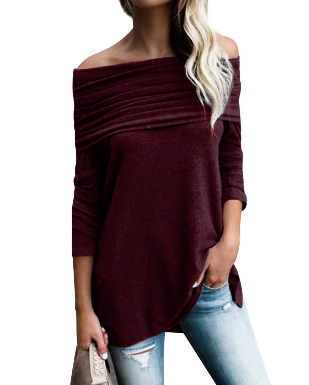 Kenoce dam långärmad vardaglig skjorta överdimensionerad uni färger topp lös passform långärmad topp tunika E-long Sleeve Wine Red