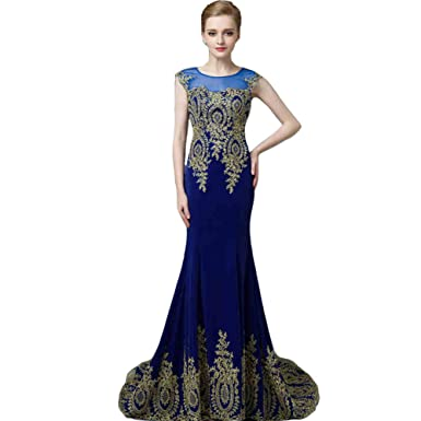 Lemai Royal Blue Mermaid Gold Lace Hem Formal Sheer Pageant Long Prom Evening Dresses US2
