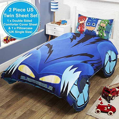 PJ Masks Catboy Cat-Car Shaped 2 Piece UK Single/US Twin Sheet Set, 1 x Double Sided Sheet and 1 x (Cars 2 Piece Bath)