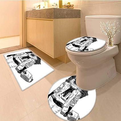 a4d61324e8de Amazon.com: Miki Da 3 Piece Toilet mat set Stylishly Dressed Monkey ...