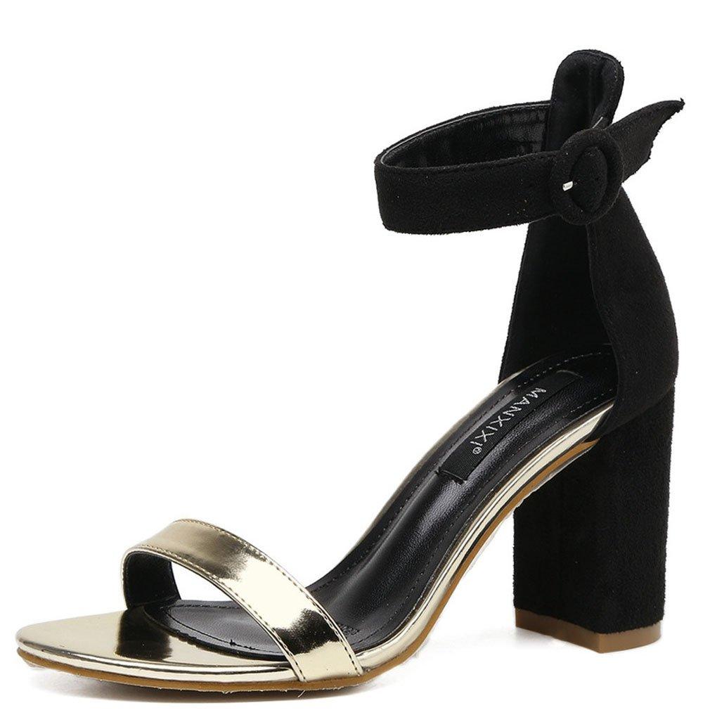 Xianshu Femmes Boucle Femmes Peep Toe Sandales en Daim Talon Boucle de Cheville Strap Talon Chaussures Noir 18fe200 - jessicalock.space