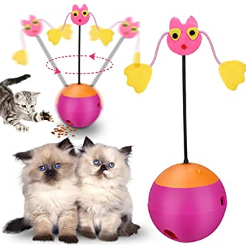 HKFV Juguete de gato giratorio automático 3 en 1 multifunción, dispensador de alimentos, juguetes
