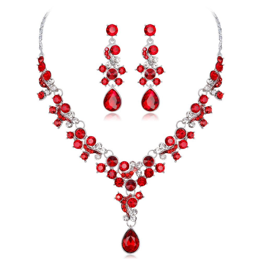 Bridal Crystal Pendant Necklace and Earrings Jewelry Set Gifts fit with Wedding Dress (Red): Amazon.co.uk: Jewellery