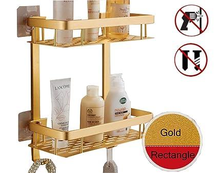 Estantería esquinera de dos pisos para baño con adhesivo - con cesta de aluminio para guardar