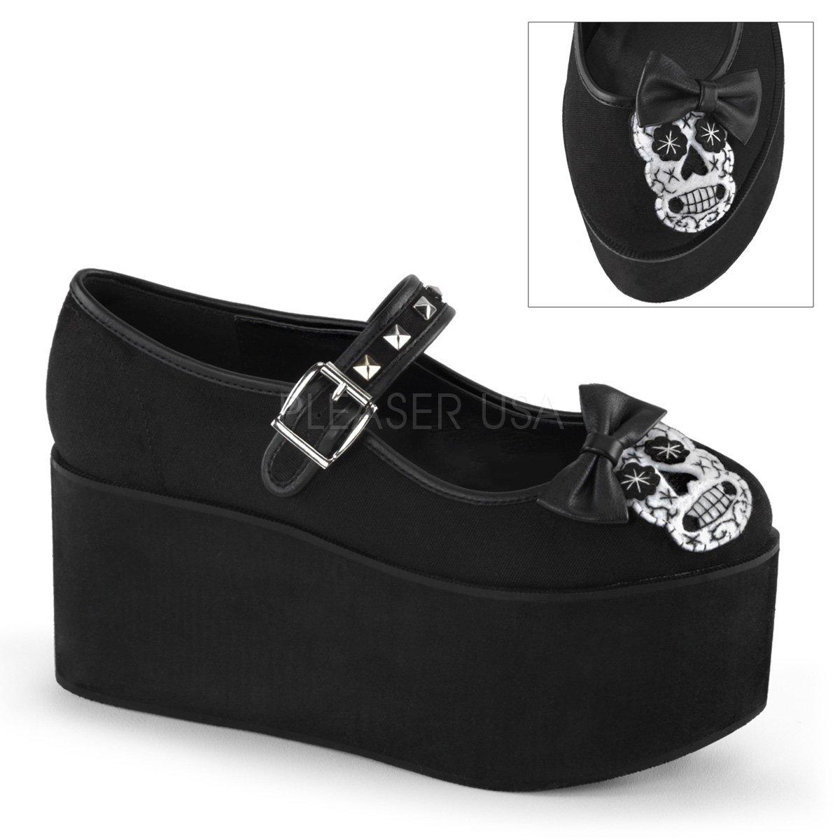 Click-02-3 Mary Jane schoen met plateau en vilt schedel van vilt en met satijnen strik zwart suede - Gothic Glamrock - 3cd10e