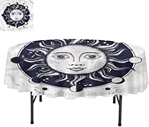 """Aishare Store Moon Phases Spill-Proof Oil-Proof Microfiber Table Cover, Sacred Geometry Sun, Tablecloths for Dining, Kitchen, Wedding, Round 60"""""""