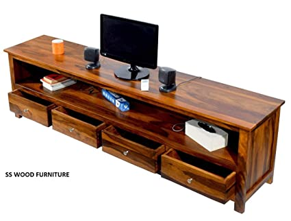 Ss Wood Furniture Solid Wood Tv Entertainment Unit Teak Finish