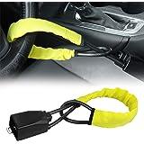Steering Wheel Lock Seat Belt Lock Security Vehicle Seatbelt Lock Anti-Theft Handbag Lock Fit Most Cars SUV Yellow 2 Keys