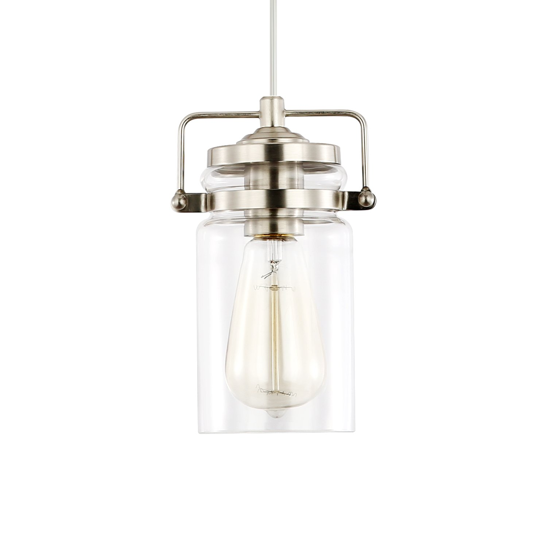 Light Society Topeka Mini Mason Jar Pendant Light, Glass Shade with Satin Nickel Finish, Vintage Industrial Modern Lighting Fixture (LS-C236-SN) by Light Society