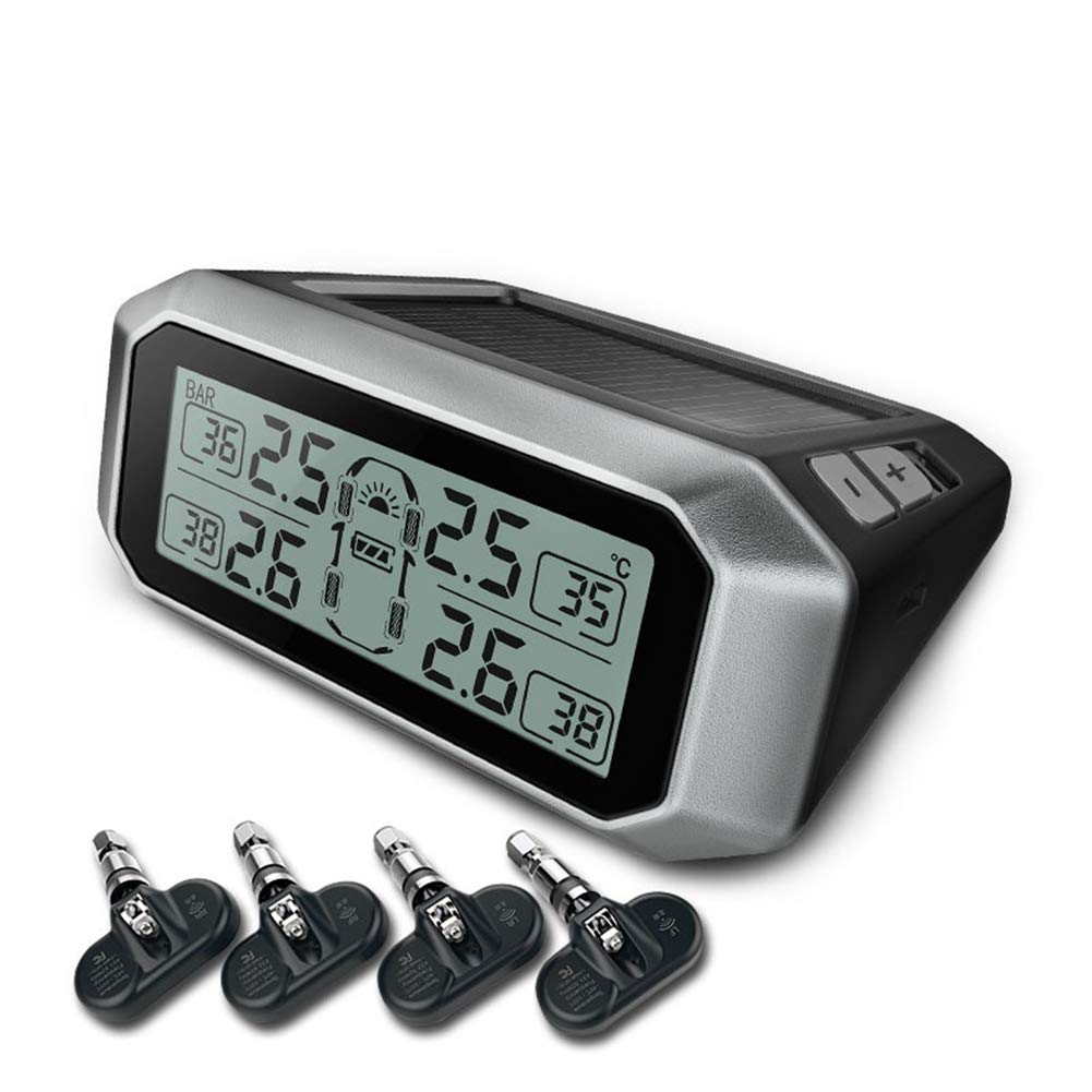 Universal Car Solar Power TPMS, Wireless Tire Pressure Monitoring System With 4 DIY Built-In Cap Sensors,Real-Time Displays 4 Tires Pressure And Temperature LHYP