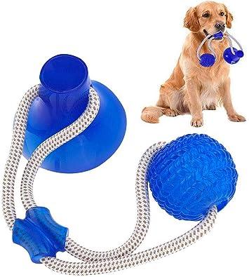 Imagen deSuprcrne Pelota de Juguete al Aire Libre para Perros, Juguetes para morder para Perros Juguete Multifuncional para mordedura de Molar para Mascotas para la Limpieza de los Dientes (Azul)