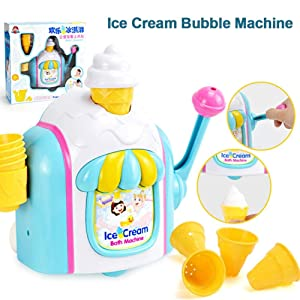 Supicity Bath Toys for Toddlers Foam Maker, Ice Cream Bubble Machine, Tub Water Bathtime Toys Gift, for Girls Boys Kids Age 2 3 4 5 Years Old