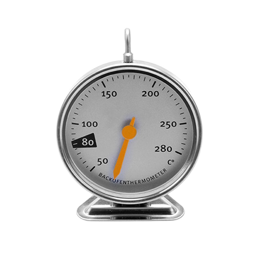 Oven Thermometer,Commercial Stainless Steel Oven Monitoring Thermometer with Panel Base and hook,Precision Oven Dial Thermometer Tmperature Gauge,Silver