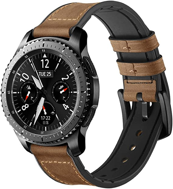 Maxjoy Compatible Galaxy Watch 46mm/Gear S3 Bands, 22mm Hybrid Sports Band Vintage Leather Sweatproof Strap with Metal Clasp Replacement for Samsung ...