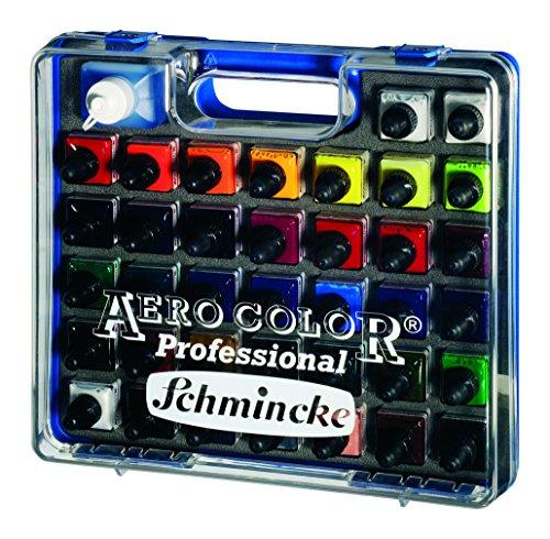 Schmincke Aero Color Professional Airbrush Ink Set in Plastic Case, 28ml Bottles, 37-Color Set with Aero Clean, 1 Set Each (81136097) ()