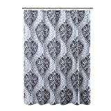 Black White Shower Curtain Comfort Spaces - Coco Shower Curtain - Black and White - Printed Damask Pattern- 72x72 inches