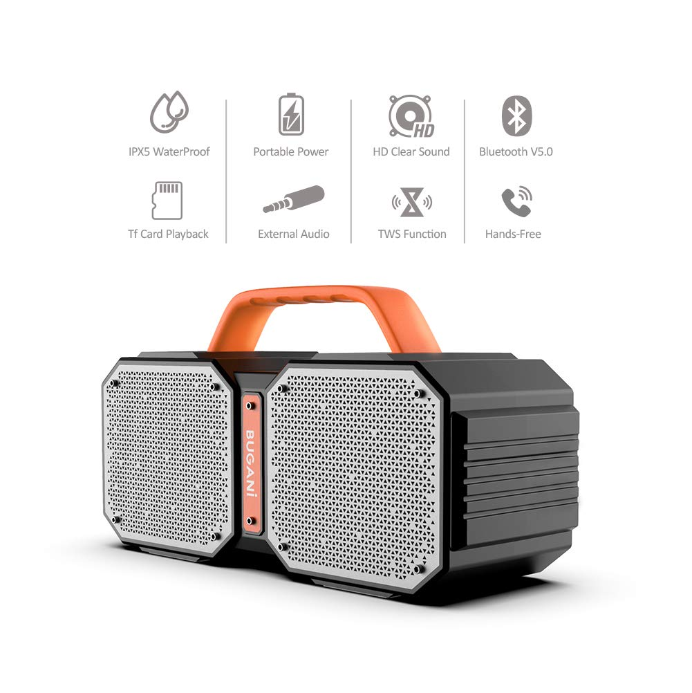 Bluetooth Speakers, Waterproof Outdoor Speakers Bluetooth 5.0,40W Wireless Stereo Pairing Booming Bass Speaker,2400 Minutes Playtime with 8000mAh Power Bank, Durable for Home Party,Camping(Black) by BUGANI (Image #3)