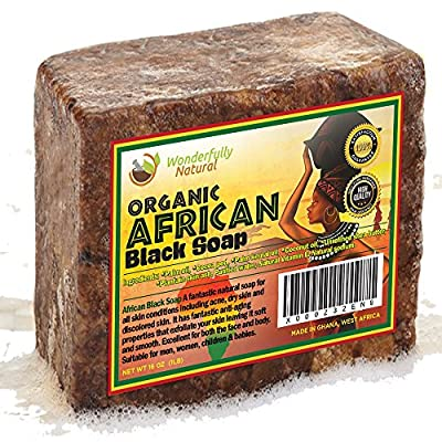 Organic African Black Soap - Best for Acne Treatment, Eczema, Dry Skin, Psoriasis, Scar Removal, Dandruff, Pimples Mark Removal, Anti-fungal Face & Body Wash,