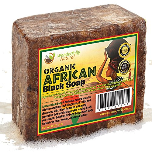 Organic African Black Soap – Best for Acne Treatment, Eczema, Dry Skin, Psoriasis, Scar Removal, Dandruff, Pimples Mark Removal, Anti-fungal Face  Bo…