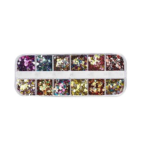 Babysbreath17 12 cuadrículas del Brillo del Clavo de Lentejuelas Mixta de uñas Ronda/Estrella Luna