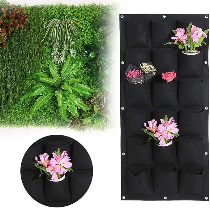 Maceta de bolsas 4/7/16/18/25 con bolsillos para colgar en el jardín, maceta vertical de pared para jardín, maceta de flores para interiores y exteriores, macetas para balcón, hierbas: Amazon.es: Jardín