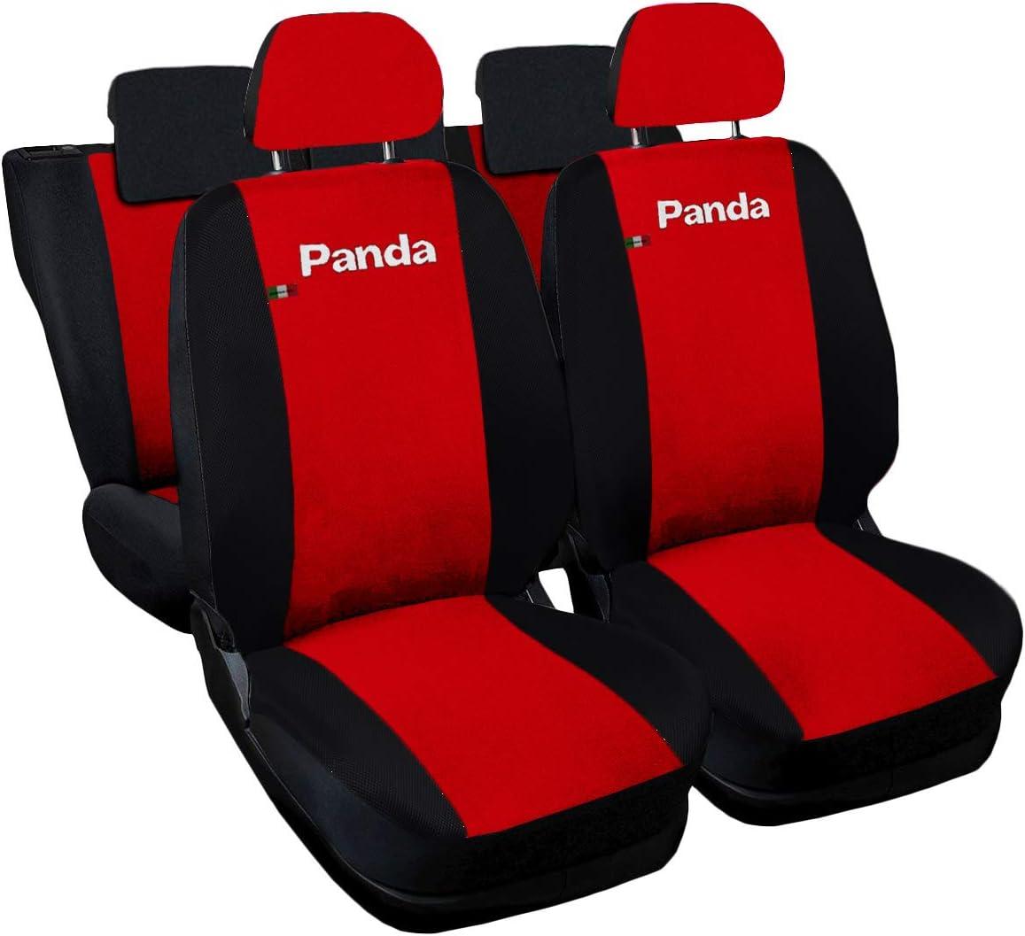 Lupex Shop Panda.014b.Rs Coprisedili compatibili, Rosso/Nero, Set
