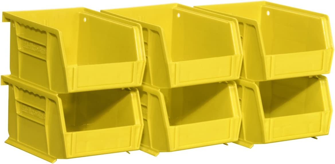 6-Pack, Clear Plastic Storage Bin Hanging Stacking Containers