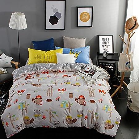 Bed Set Duvet Cover Bedding Set Flat Sheet Pillowcases DL Queen Set 78x91 Animal Cartoon Ice Age Jungle Owl Design 4pcs/Set No Comforter for Kids Sheet Sets (Queen, Jungle Owl, Green) Nova