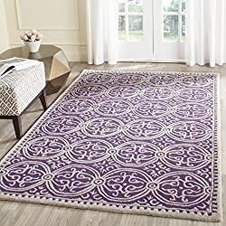 Safavieh Cambridge Collection CAM123K Handcrafted Moroccan Geometric Purple and Ivory Premium Wool Area Rug (5' x 8')
