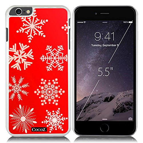 New Apple iPhone 6 s Plus 5.5-inch CocoZ® Case Beautiful Christmas Snow PC Material Case (Red&White PC Snowflake 4)