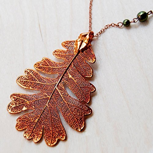 Enchanted Leaves - Extra Large Fallen Copper Oak Leaf Necklace - Iridescent Copper Plated REAL Oak Leaf