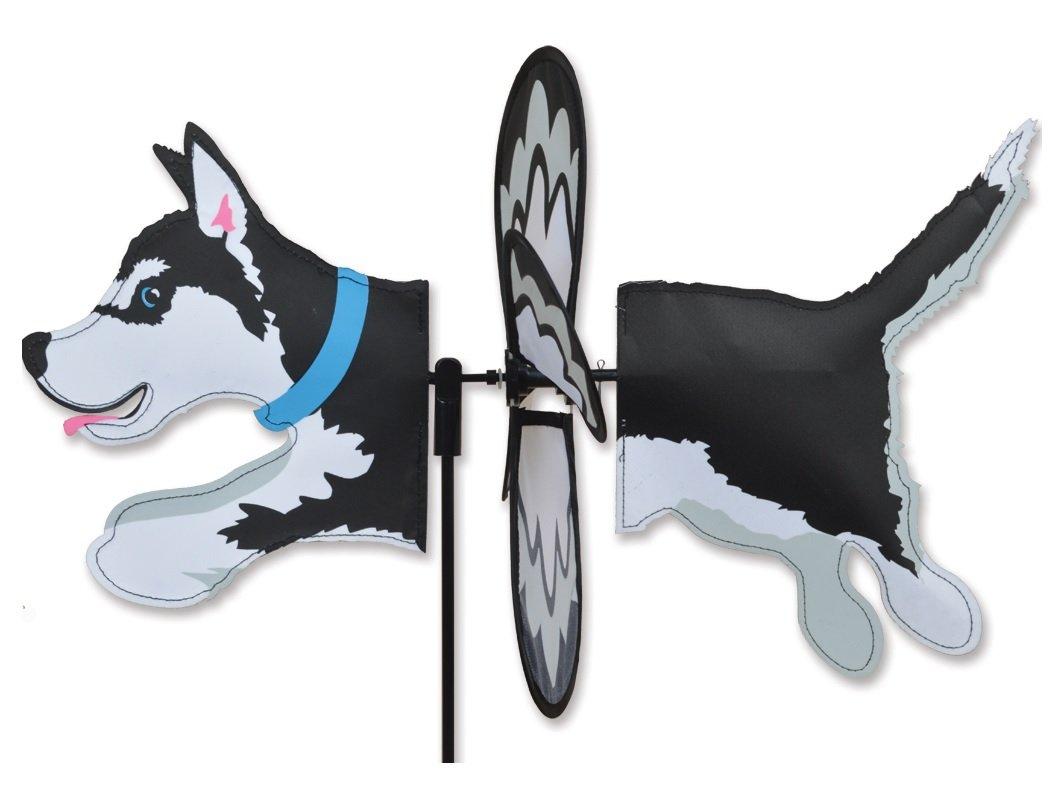 Premier Kites Petite Wind Spinner for Patio, Lawn, Garden | 100% Rain & UV Resistant Polyester - Aerodynamic, Sturdy Long Lasting Dog Wind Spinner (Husky)