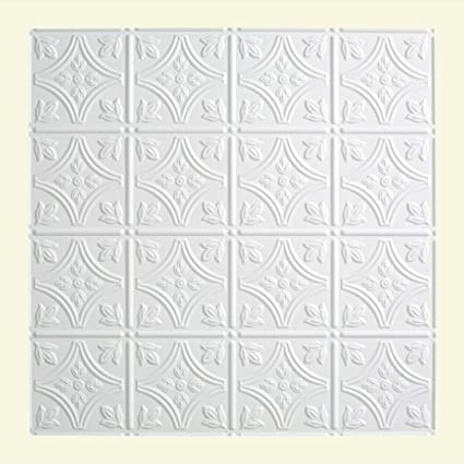 Amazoncom Fasade Traditional Matte White Lay In Ceiling Tile - 1 x 2 ceiling tiles