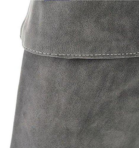Beauqueen Mat PU sobre la rodilla botas de invierno de altura Almendra en forma de dedo del pie estilete de tacón alto Partido caliente informal botas de cremallera femenina personalizada tamaño de Eu blue (sand)