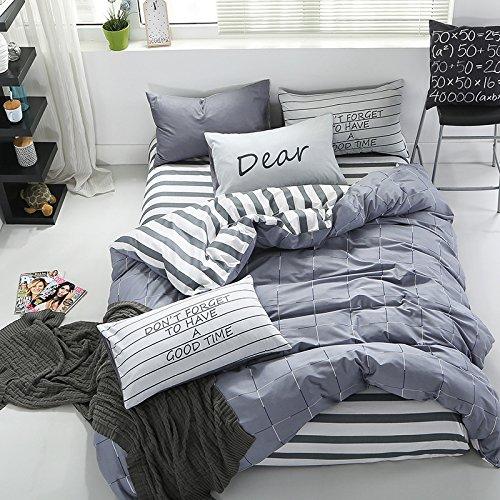 InfiniteS 3 Pieces Duvet Cover Set 100% Cotton With Stripe P