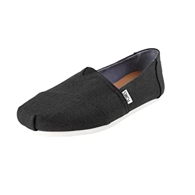 TOMS Women's Canvas Alpargata Flat (7 B(M) US, Black Poly Canvas) | Loafers & Slip-Ons