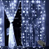 Vilaka Window Curtain Lights, 9.8 x 9.8ft 300 LED Decorative String Lights 8 Flash Modes, 29V Memory Function Waterproof Plug-in Outdoor Curtain Lights Wedding/Garden/Party (Cool White)