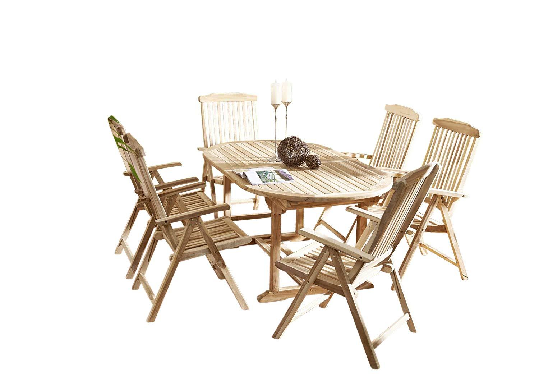SAM 7tlg. Gartengruppe Aruba, Teak-Holz, 1 x ovaler Ausziehtisch ca. 180-240 x 100 cm + 6 x Hochlehner Aruba