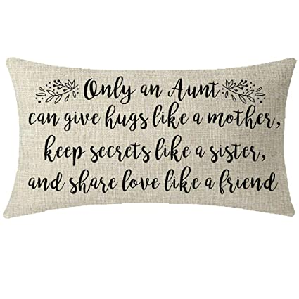 NIDITW Nice Auntie Aunt Gift from Nephew Niece Only an Aunt Can Give You  Cotton Linen Throw Pillow Cover Cushion Case Pillow Sham Home Chair Couch  ...