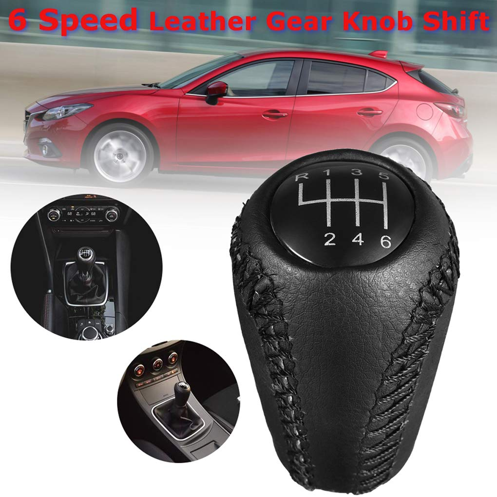 Idyandyans Car Gear Shift Lever Black PU Leather Gear Stick Shift Knob 6 Speed Replacement for Mazda 3 5 6 Car Styling