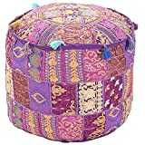 GANESHAM Indian Bedroom Decor Hippie Patchwork Bean Bag Boho Bohemian Hand Embroidered Ethnic Handmade Pouf Ottoman Vintage Cotton Floor Pillow & Cushion 13'' H x 18'' Diam.