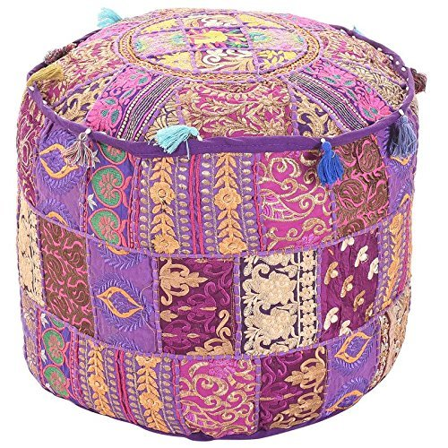 Aakriti Gallery Indian Pouf Footstool Ethnic Embroidered Pouf Cover, Indian Cotton Round Pouffe Ottoman Pouf Cover Pillow Ethnic Decor Art - Cover Only (18x13inch) (Purple) (Ottoman Purple Pouf)