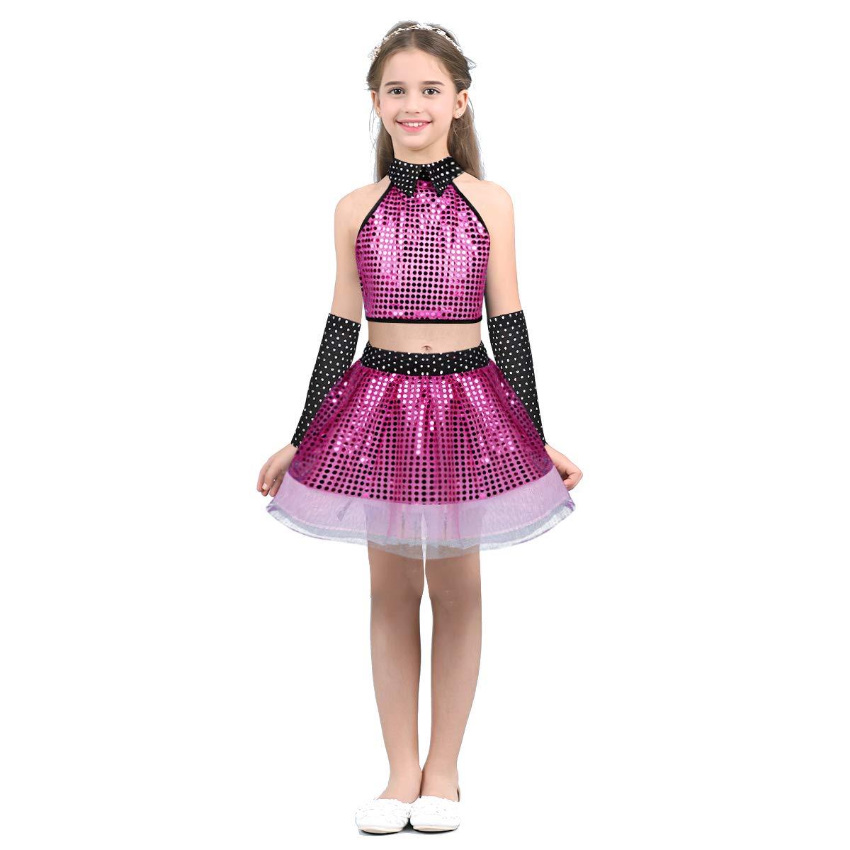 Crop Top Costume Spectacle Dancewear 3-14 Ans ranrann Enfant Fille Ensemble Vetement Danse Latine Robe Paillette Tutu Ballet Moderne Jazz Danse Tenue Hip hop Tulle Jupe