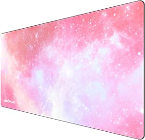 Gaming Mouse Pad, Large Mouse Pad XL Pink, Mouse Pads for Computers 31.5×15.75In, Large Extended Gaming Keyboard Mouse Pads, Big Desk Mouse Mat Designed for Gaming Surface/Office, Durable Edges
