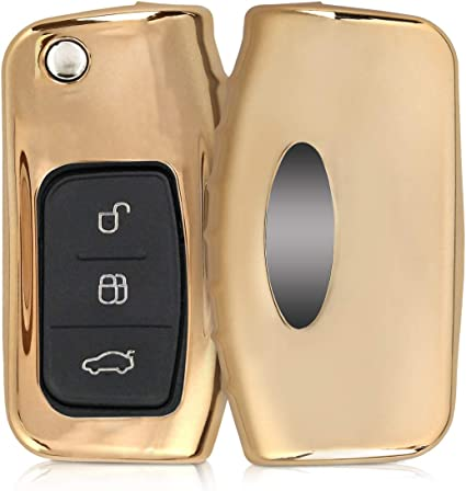 Soft TPU Silicone Protective Key Fob Cover for Nissan 3 Button Car Key Rose Gold High Gloss kwmobile Car Key Cover for Nissan