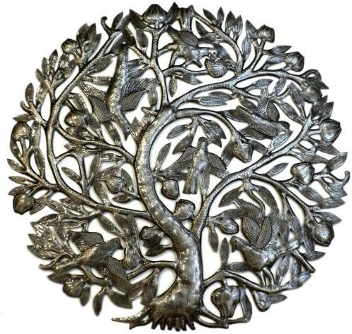 Global Crafts 24″ Recycled Handmade Haitian Metal Wall Art Tree of Life