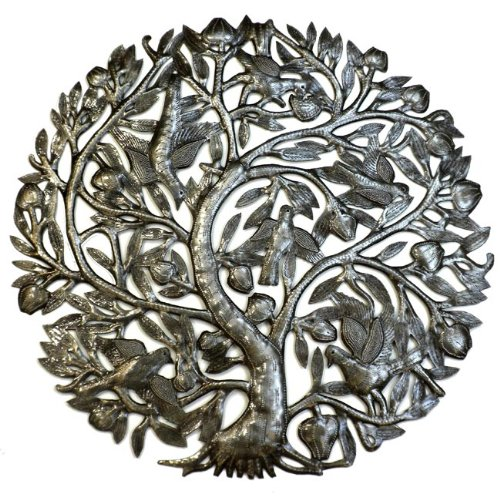 Global Crafts Metal Wall Art - 24 Inch Tree of Life with Buds - Haiti